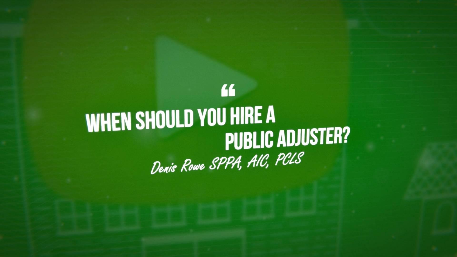 Hiring A Public Adjuster Video Screenshot